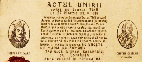 27 martie: 102 de ani de la Unirea Basarabiei cu România